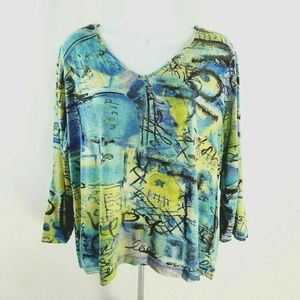 Chicos Size 3 Womens Top 3/4 Sleeve V Neck NICE